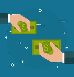 hands with bills dollars vector image