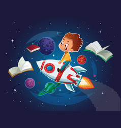 happy boy playing and imagine himself in space vector image
