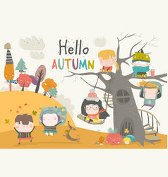 Happy children playing in autumn park hello vector