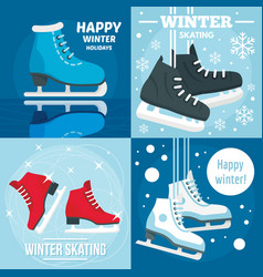 Holiday winter skating banner set flat style vector