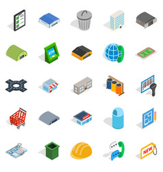 Industrial area icons set isometric style vector