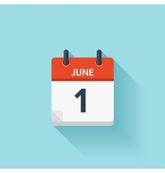 June 1 flat daily calendar icon date vector