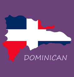 Map of dominican republic with the flag north vector