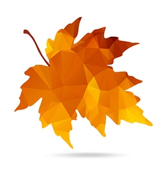Maple leaf in triangular style with dropped shadow vector