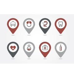 Medical mapping pins icons vector