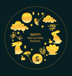 Mid autumn festival concept icons set vector