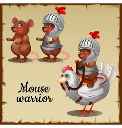 Mouse in steel armor on the chicken vector