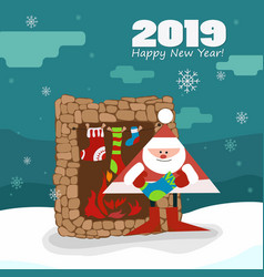 New year picture santa by the fireplace gifts vector