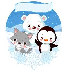 North pole animals vector