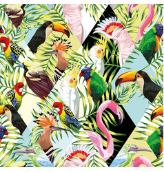 patchwork tropical birds palm leaves multicolor vector image