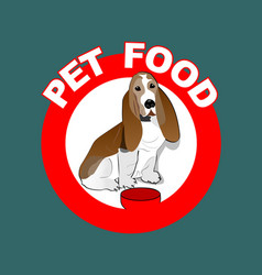 Pet food red circle label with basset hound vector