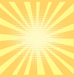 Pop art background orange rays of the sun are vector