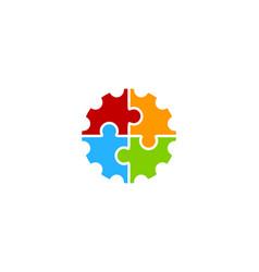 puzzle gear logo icon design vector image