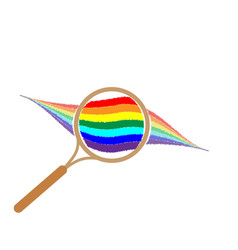 Rainbow with magnifier sign 1104 vector