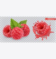 Raspberry sweet fruit 3d realistic icon vector