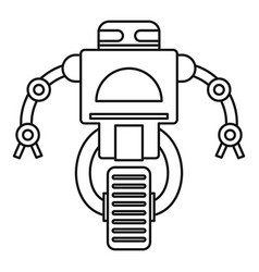 Robot on wheel icon outline style vector