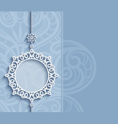 Round frame lace pendant on blue background vector
