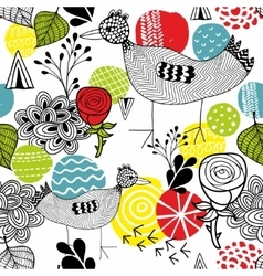 Seamless background with bright elements and cute vector image