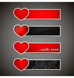 set banners with red hearts vector image