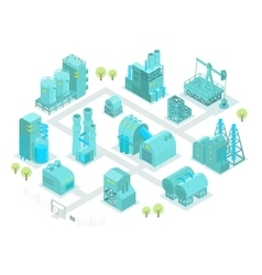 Set factory isometric oil production vector image