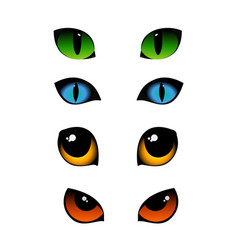 set of cat emotions eyes in vector image