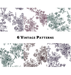 Set of vintage floral seamless patterns vector