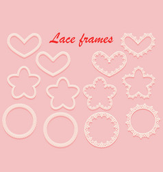 set of white carved frames of various shapes ring vector image