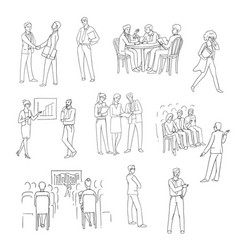 set sketch black contour isolated vector image