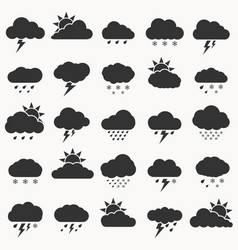set weather icon black color on white vector image