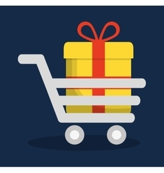 Shopping cart gift online store market icon vector