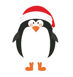 Silhouette of penguin with boots and christmas hat vector