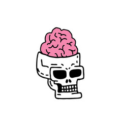 Skull with brains drawing head skeleton vector