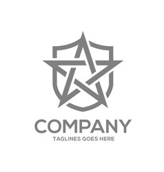 star and shield logo design concept template vector image