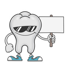 Tooth cartoon with sunglasses holding sign vector