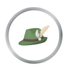 Tyrolean hat icon in cartoon style isolated on vector image