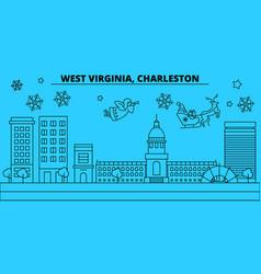 United states charleston winter holidays skyline vector
