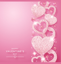 valentines day vertical background with shining vector image