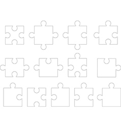 White puzzle pieces vector