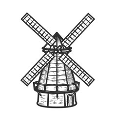 Windmill isolated on white background background vector