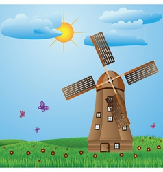Windmill on meadow vector image