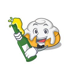 With beer cinnamon roll mascot cartoon vector