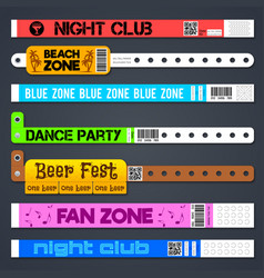 Zone entrance bracelets isolates concert or hotel vector