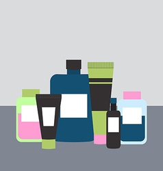 Cosmetics and Medicine Bottles in Flat Styl vector image vector image