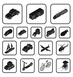 different types of transport black icons in set vector image vector image