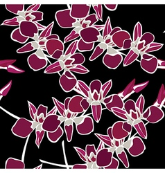 Floral seamless pattern with orchids hand-drawing vector image vector image