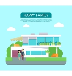 Happy Family Concept in Flat Design vector image