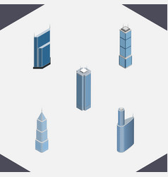 Isometric construction set of building skyscraper vector