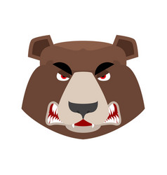 Bear angry emoji grizzly aggressive emotion face vector