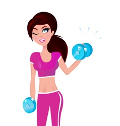 beautiful fit woman on white vector image vector image
