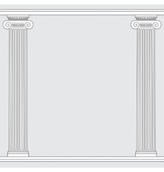 black and white line drawing Ionic order columns vector image